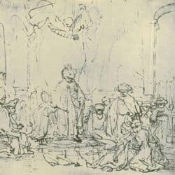 Rembrand Drawing, Esther before Ahasuerus,
