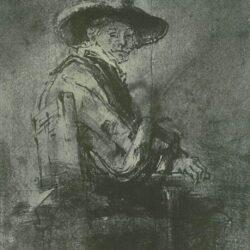 Rembrandt, tekening, Zittende staalmeester: Jacob van Loon;