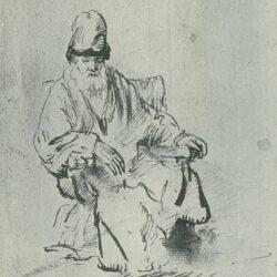 Rembrandt, tekening, Zittende oude man met hoge muts, Schatborn 106