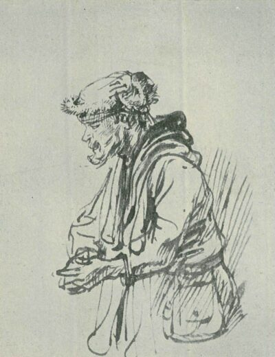 Rembrandt drawing, willem drost, StandingBeggar with a LeatherBag,