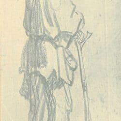 Rembrandt drawing, Standing Man with a Stick, Facing Right;