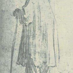 Rembrandt drawing, Standing Man with a Stick, Facing Left; Schatborn 4; Benesch 32