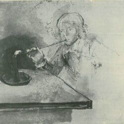 Rembrandt drawing, Boy Lighting a Pipe,