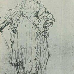 Rembrandt tekening, ferdinand bol, staande herderin