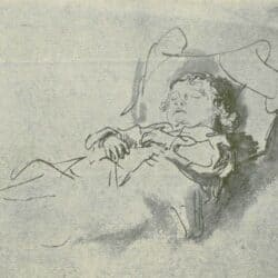 Rembrandt drawing of a sleeping boy,