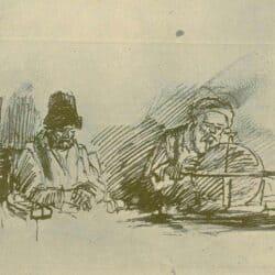 Rembrandt tekening, Twee zittende oude mannen, een met een globe,