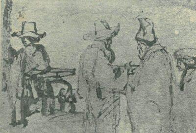 Rembrandt tekening: Jongen met hond, twee pratende mannen en een hoofd van opzij,