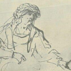 Rembrandt tekening, Vrouw geeft een kind te drinken,