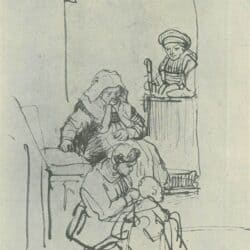 Rembrandt tekening: Drie vrouwen en een kind bij een huisdeur,