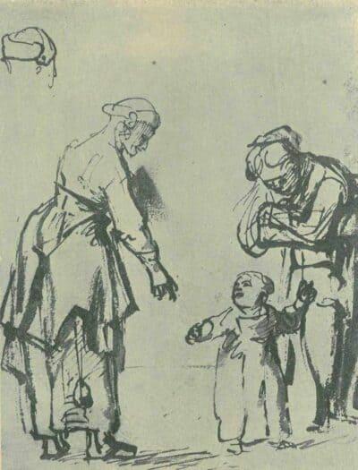 Rembrandt tekening, Carel Fabritius, Twee staande vrouwen met een kind,