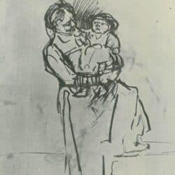 Tekening Rembrandt, Staande vrouw met kind op haar arm,