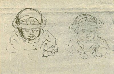 Rembrandt drawing, Two Busts of a Child Wearing a Head Protector,