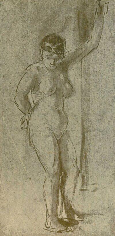Rembrandt tekening, Staand vrouwelijk naakt met opgeheven arm;