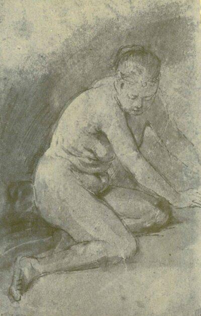 Rembrandt tekening, Knielend vrouwelijk naakt met uitgestrekte armen;