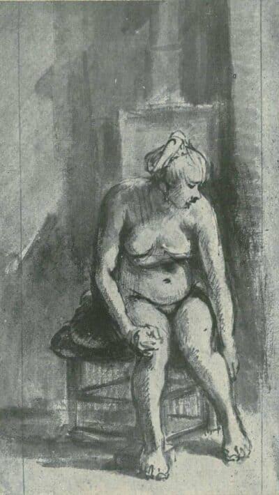 Rembrandt tekening Naakte vrouw bij een kachel;
