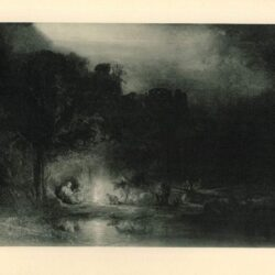 Rembrandt painting Nocturnal landscape with the rest on the flight into Egypt