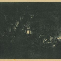 Rembrandt etching, Bartsch B. 46, The adoration of the shepherds: a night piece