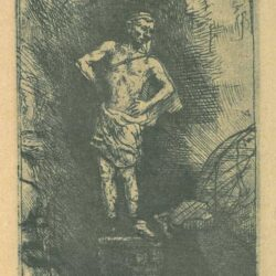 Rembrandt etching, Bartsch B. 36a, The Statue of Nebuchadnezzar; from a leaf with four illustrations to a Spanish book