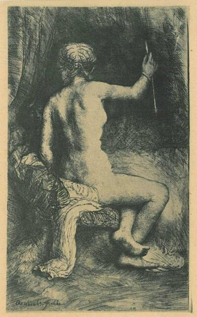 Rembrandt Etching Bartsch B. 202, The woman with the arrow [Venus and Cupid]