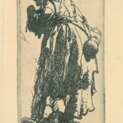 Old beggar woman with a gourd, Rembrandt, etching, Bartsch B. 168