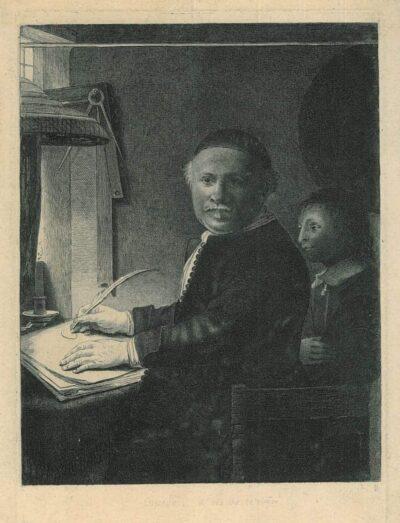 Rembrandt ets, Bartsch 282, copy; New Hollstein 305, copy b, De schrijfmeester Lieven Willemsz. Van Coppenol (1599-na 1677): kleine plaat