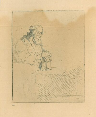 Rembrandt ets, Bartsch B. 147, Een in gedachten verzonken oude man, leunend op een boek