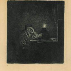 Rembrandt ets, Bartsch B. 148, Een student aan tafel bij kaarslicht