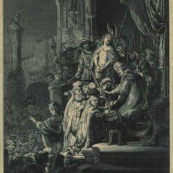 Rembrandt ets, Bartsch B. 77, New Hollstein 155, copy f, Christ before Pilate