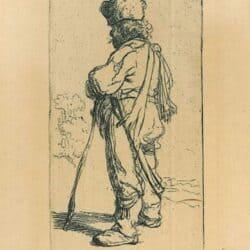 Rembrandt ets, Bartsch B. 141, Een Pool, leunend p zijn stok: naar links
