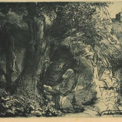 Rembrandt Ets Bartsch B. 107, St. Francis beneath a tree praying