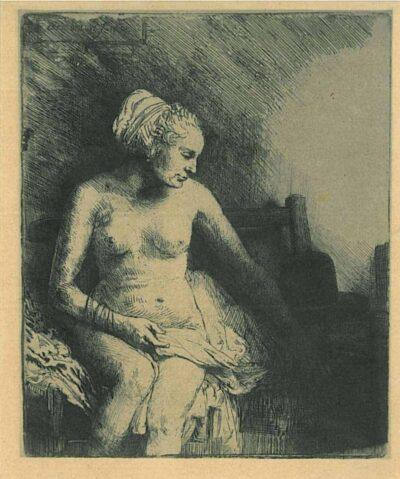 Rembrandt Ets Bartsch 199 Naakte vrouw met een hoed naast zich, Rembrandt, Bartsch, B. 199