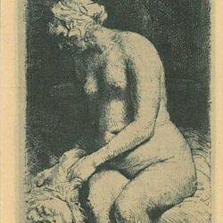 Zittene naakte vrouw [Vrouw die haar voeten baadt in een beek], Rembrandt Ets, Bartsch, B. 200