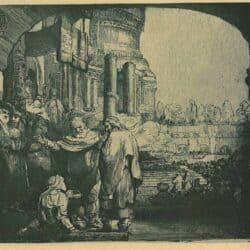 Petrus en Johannes genezen een kreupele aan de tempelpoort, Rembrandt Ets, Bartsch, B. 94