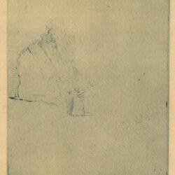 Een in gedachten verzonken oude man, leunend op een boek, Rembrandt Ets, Bartsch, B. 147