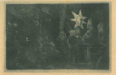 Driekoningen: een nachtstuk, Rembrandt Ets, Bartsch, B. 113