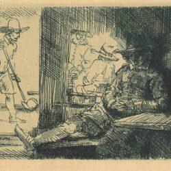 Het kolfspel, Rembrandt Ets, Bartsch, B. 125