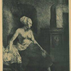 Vrouw met ontbloot bovenlichaam bij een kachel, Rembrandt Ets, Bartsch, B. 197