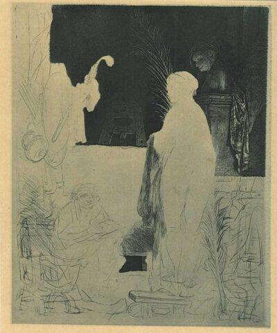 Een kunstenaar bezig met modeltekenen, Rembrandt Ets, Bartsch, B. 192