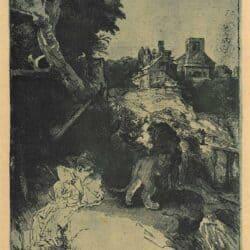 Hiëronymus lezend in een Italiaans landschap, Rembrandt ets, Bartsch, B. 104
