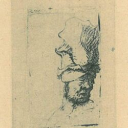 Rembrandt Etching, Bearded man, in a furred oriental cap and robe [The artist's father?]