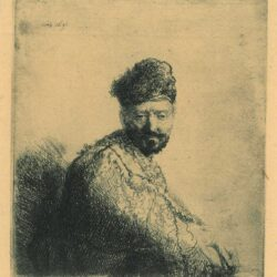 Rembrandt Etching, Bartch B. 263, Bearded man, in a furred oriental cap and robe [The artist's father?]
