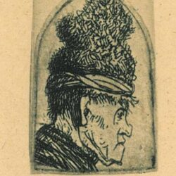 Rembrandt etching, Bartsch B. 326, GROTESQUE PROFILE: MAN IN A HIGH CAP