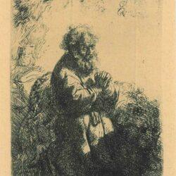 Rembrandt, etching, Bartsch B. 102, St. Jerome kneeling in prayer, looking down