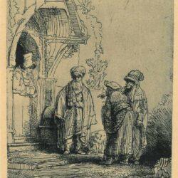 Rembrandt etching, Bartsch B. 118, New Hollstein 190, Three oriental figures [Jacob and Laban?]