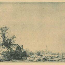 Rembrandt Ets Bartsch B. 228, Boerderij aan een vaart: gezicht op Ouderkerk aan de Amstel