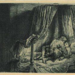 Rembrandt etching, Bartsch B. 186. The State Bed, or 'Le Lit à la française'