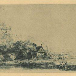 Rembrandt Etching Bartsch 237, New Hollstein 251, Landscape with a drinking cow