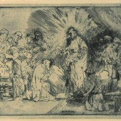 Rembrandt, etching, Bartsch B. 89, Christ appearing to the apostles