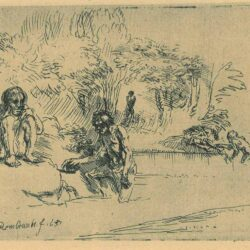 Rembrandt Etching, bartch b. 195, The bathers