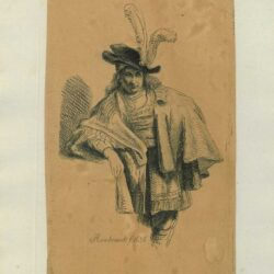 Rembrandt, Drawing, Man Standing Three-Quarter Length in a Plumed Hat and Rich Costume